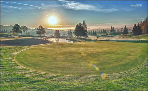 sun ontario canada sunrise golf landscape nikon huntsville course flare nik nikkor 2470mmf28 colorefexpro d700 hdrefexpro