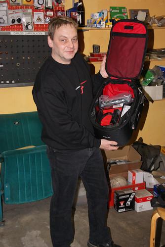 Carlo mit sw-motech Tankrucksack
