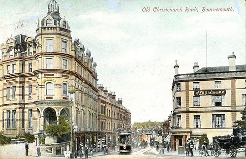THE QUEEN HOTEL. THE LANSDOWNE. CORNER OF BATH RD AND OLD CHRISTCHURCH RD. BOURNEMOUTH. DORSET. c1903