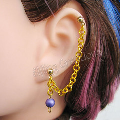 Gold and purple chain earring