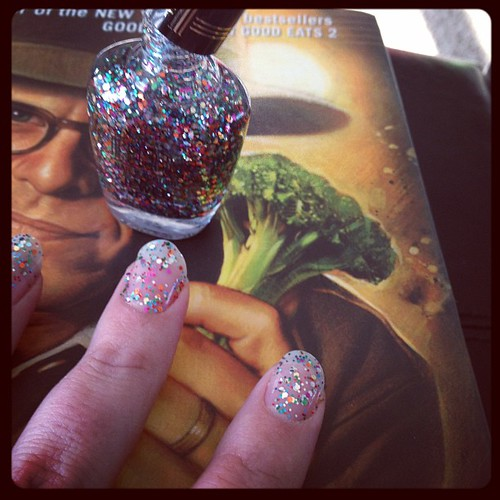 Alton Brown is helping me paint my nails. #febphotoaday #green #glitter
