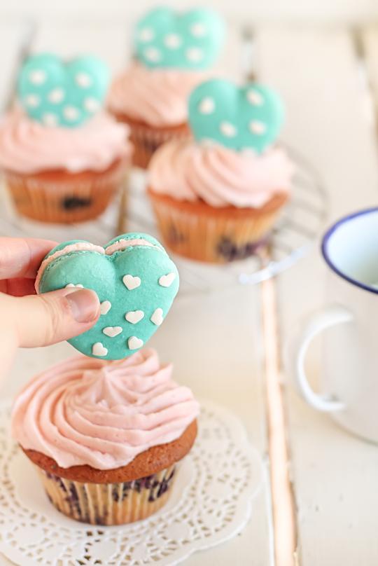 Heart Polkadot Macarons & Vanilla Bean Blueberry Cupcakes