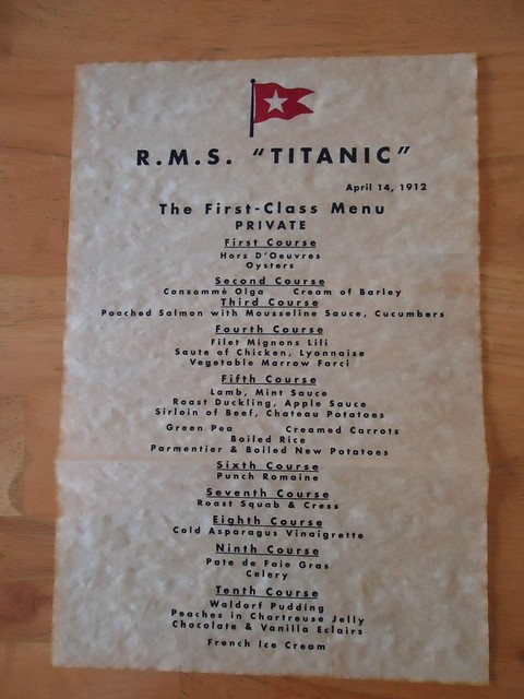 Replica Of The 1st Class Menu On The Titanic On April 14th