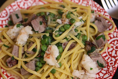 Linguine with Lobster Tail, Pink Peppercorn Crusted Pork Tenderloin, and Peas