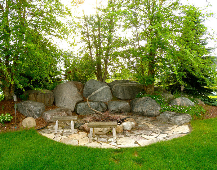 Outdoor fireplaces backyard fire pits boulder images inc for Outdoor fireplace landscaping