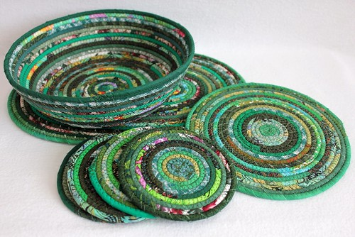 Green coiled mats, coasters and bowl