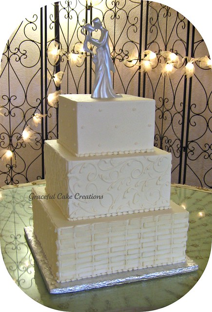 Square Basket Weave Wedding Cake