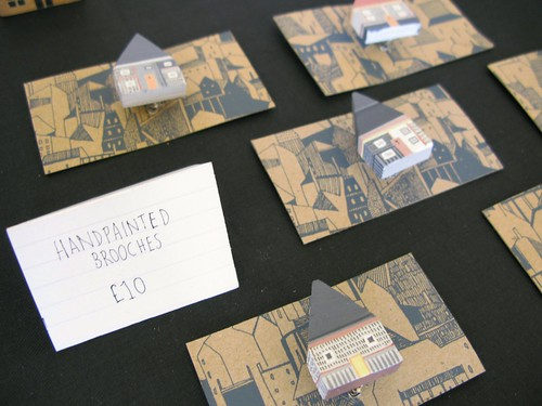 Tiny hand painted house brooches by Rosie Walters at The Market, April 28th 2012