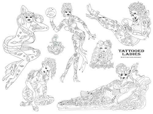 NEW Tattooed Ladies Embroidery Pattern
