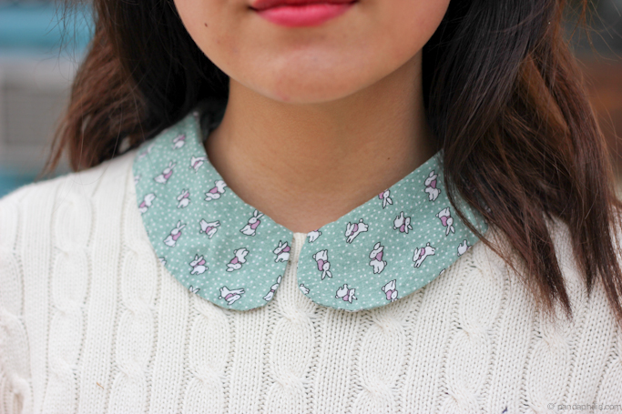 peter pan collar bunny print