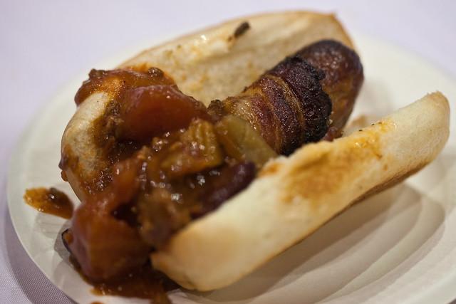 Magnolia Cafe - jalapeno bacon wrapped bratwurst | Flickr - Photo ...