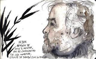 35 sketchcrawl in Valladolid 14.30H. Retrato de Luis y la rama de bambú
