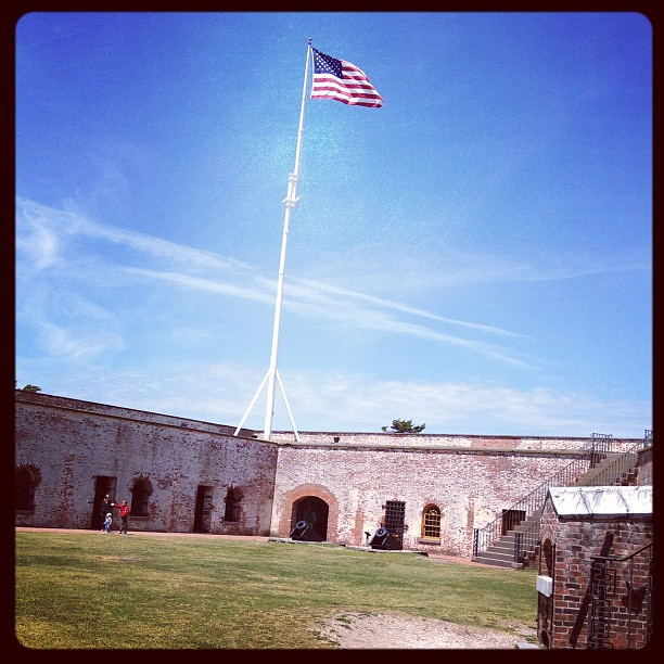 Enjoying a beautiful afternoon at Fort Macon.
