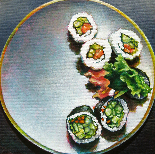 Landlocked: Still Life with Sushi, acrylic on canvas, 8 x 8 inches, 2011 by Sarah Atlee. Some rights reserved.