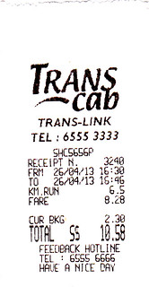 taxi receipt for 26 april