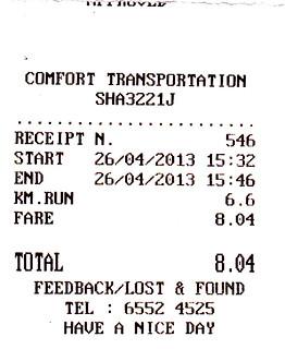 26 Apr taxi receipt