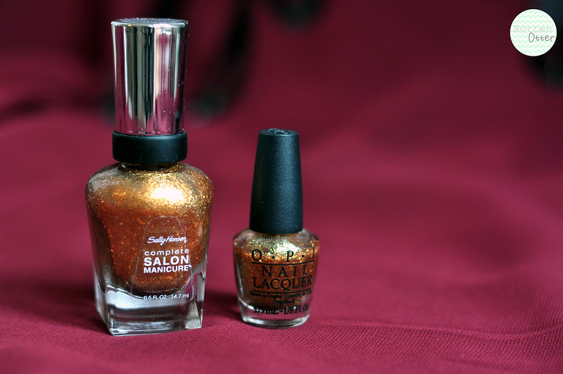 nail polish dupe opi golden eye sally hansen gilded lily gold shimmer rottenotter rotten otter blog 2