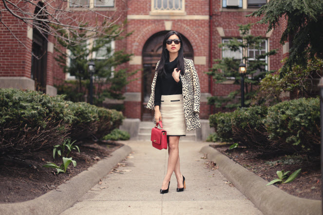 leopard coat red bag6