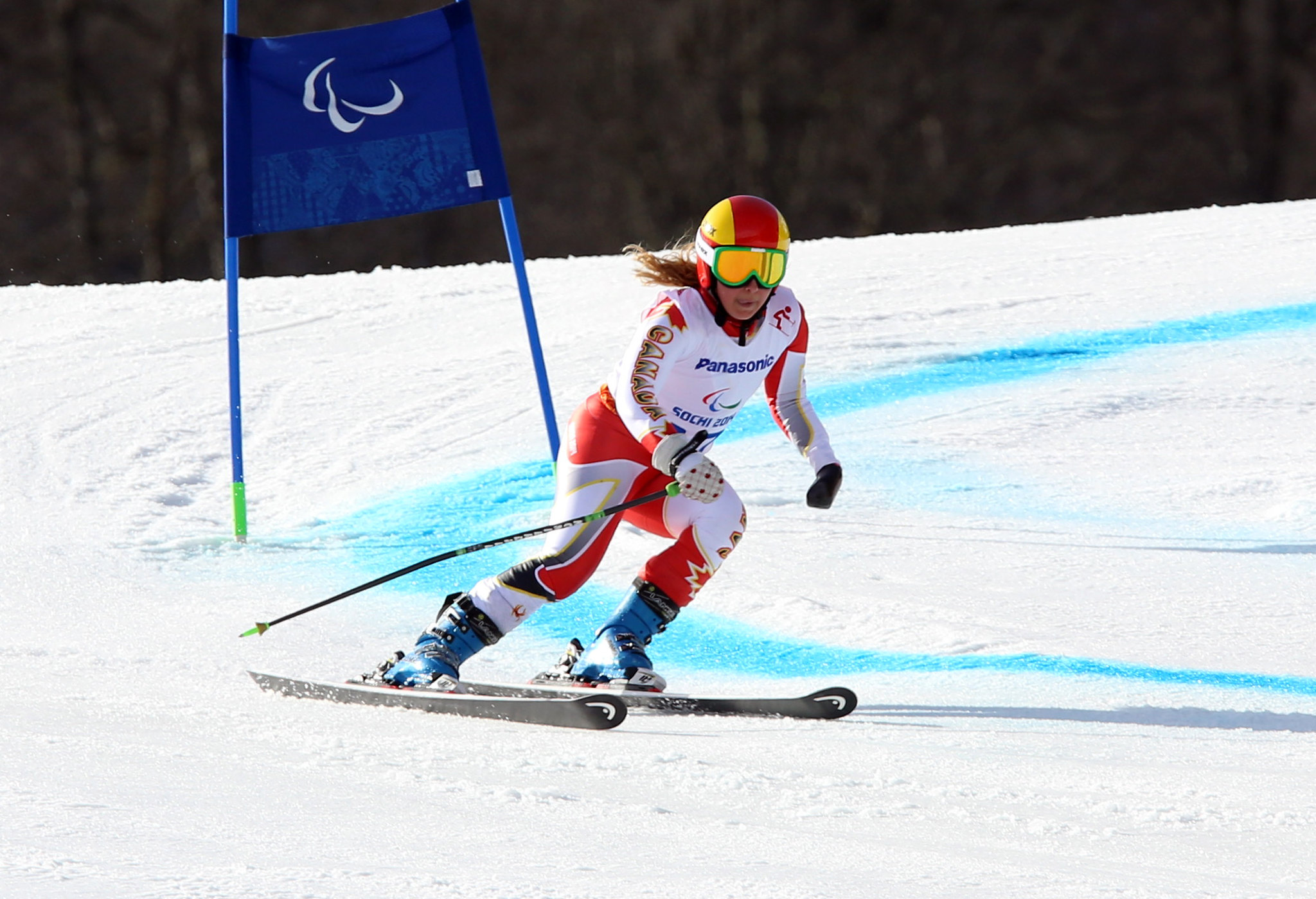 Alex Starker in action during giant slalom at the Paralympic Winter Games in Sochi, RUS