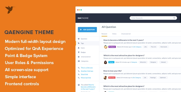 QAEngine v2.0.12 - Question and Answer WordPress Theme