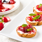 Roasted Strawberry Crostini with Basil and Goat Cheese