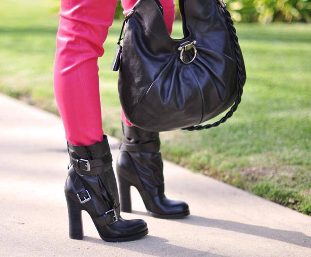 pink jeans-buckle boots-ferragamo bag