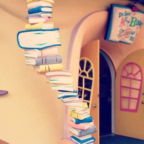 Seuss book tower.