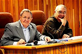 """The most important part comes now,"" President Raúl Castro of Cuba stated, one being informed of work underway to improve state administration structures. Beside him, Leonardo Andollo Valdés. by Pan-African News Wire File Photos"