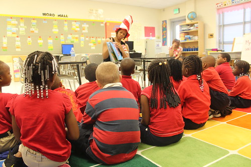 Wyvette Robinson, district clerk of the Hinds County Soil and Water Conservation District, reads The Lorax to students in Jackson, Miss.
