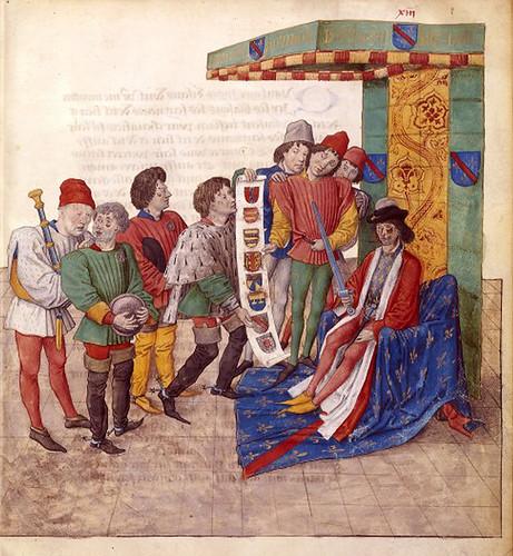 007--Le libre des tournois…1460- René d' Anjou-Français 2692, fol. 13-Defensor eligiendo a los jueces narradores