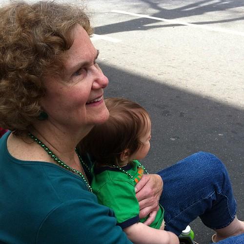 Grandma and Mick watching the parade