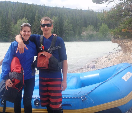 Cole and Adela Rafting in Jasper National Park