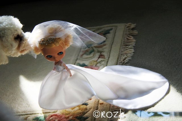 Susan adapted Blythe Barbie patterns to make a gown