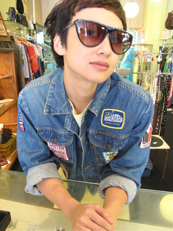 Cool shades, cool jacket! Vintage denim jacket with loads of patches sewn onto it, worn with vintage New Old Stock shades