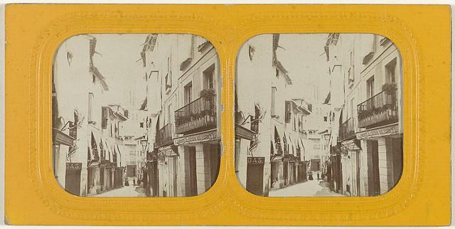 Calle Ancha o del Comercio hacia 1863. Fotografía estereoscópica de Ernest Lamy