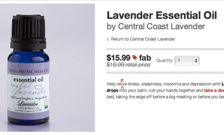 Lavender Essential Oil description reads: Help relive stress, sleepiness, insomnia and depression . . .
