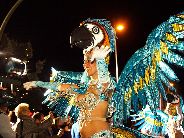 Macaw Dancer at Cabalgata, Santa Cruz Carnaval Opening Parade