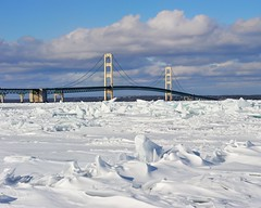 """Icy Straits""  Winter at Mackinac Bridge, Mackinaw City, Michigan by Michigan Nut"