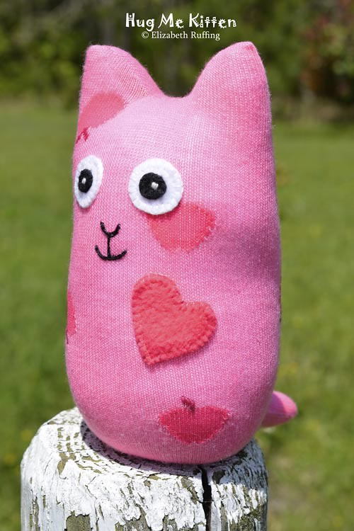 Pink Hug Me Sock Kitten, original art toy by Elizabeth Ruffing