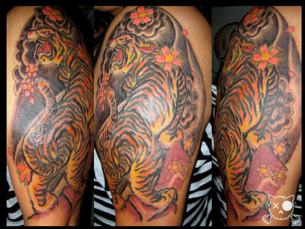 Traditional Japanese Tiger Half Sleeve Aces Tattoo Flickr