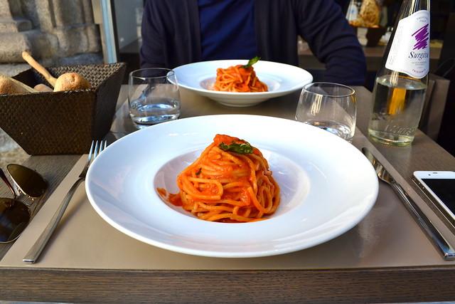 Delicious spaghetti at Café Trussardi, Milan