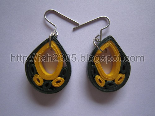 Paper Jewelry - Handmade Quilling Teardrops Earrings (Green) by fah2305
