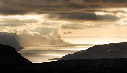 ocean sunset sea mountains yellow clouds island gold bay iceland shadows hills rays nikkor heavy fjords ísland vestfirðir westfjords arnarfjörður 70300mmf4556gvr 00006819