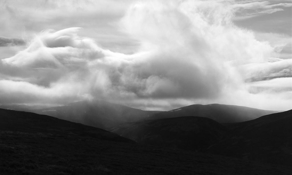 Clouds swirl over Culardoch and Glen Gairn