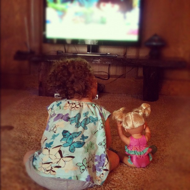She's only willing to sit up nice and straight for Dora. #specialneeds