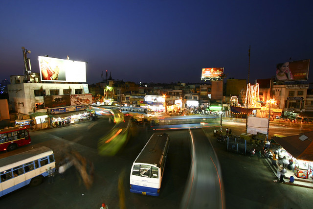 Shivaji Nagar bus station by night
