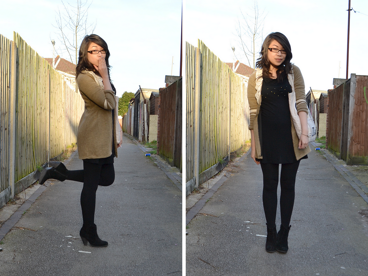 daisybutter - UK Style Blog: what i wore, fashion blogger, outfit, little black dress, LBD, cord cardigan, texture clash