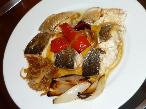 Besugo al horno (Baked sea bream) for my sailor boy!