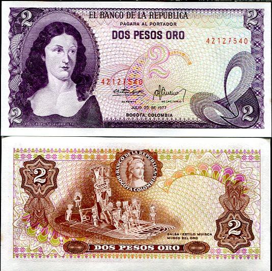 2 Pesos Oro Kolumbia 1977, Pick 413b