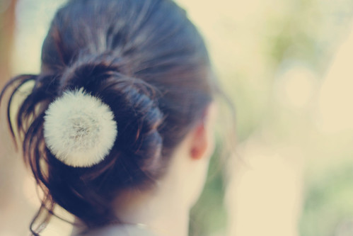 chignon with dandelion